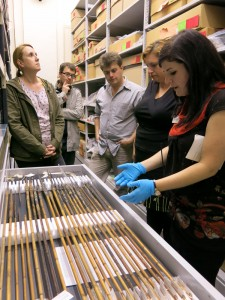 Sarah Mahood accompanying a tour of the Horniman Museum's store