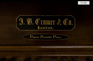 Maker's label of Cramer patent portable piano, Horniman Museum object no. M7-1991