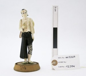 Model figure of a man displaying leg tattoo designs