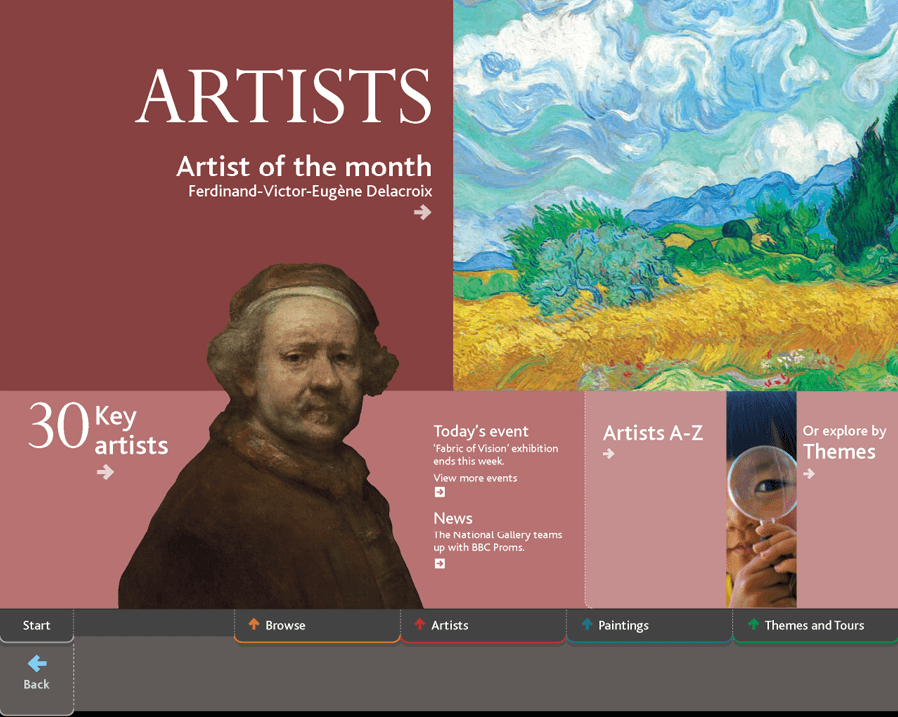 The Artists home screen from the National Gallery's ArtStart collection information kiosk, showing links for 'Artist of the month', '30 Key artists', 'Artists A-Z' and 'Or explore by Themes', with a detail from van Gogh's 'A Wheatfield, with Cypresses' (NG3861) and a self-portait by Rembrandt.