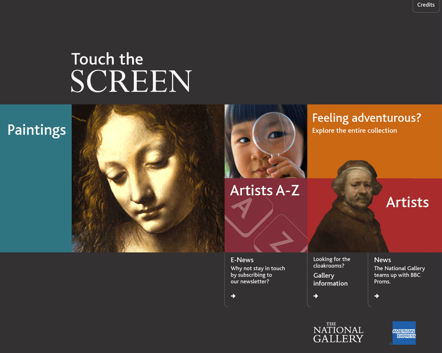 The splash screen from the National Gallery's ArtStart collection information kiosk, showing main categories for 'Paintings', 'Feeling adventurous?', 'Artists A-Z' and 'Artists'