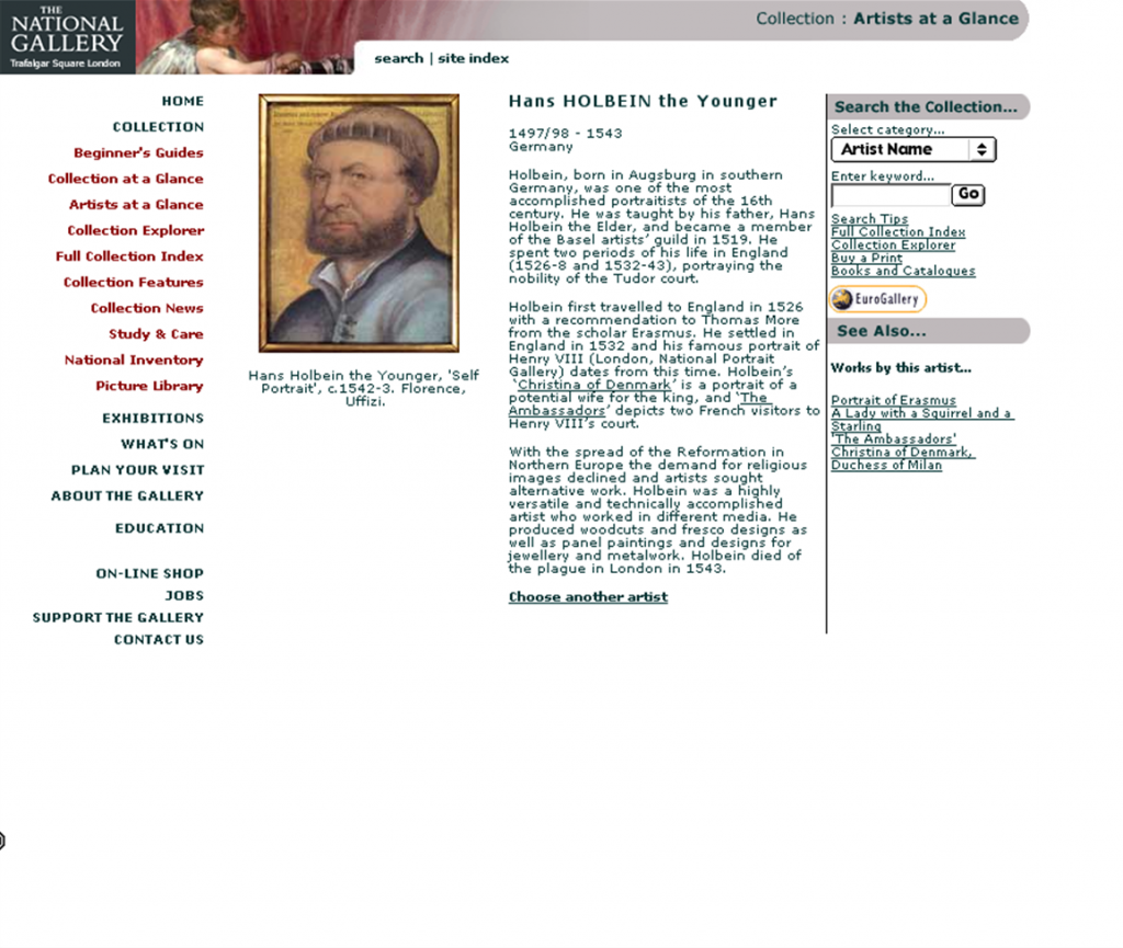 The artist page for Holbein from the National Gallery's second website, showing a portrait of the artist, biographical information, search links, and links to works by the artist in the Gallery.