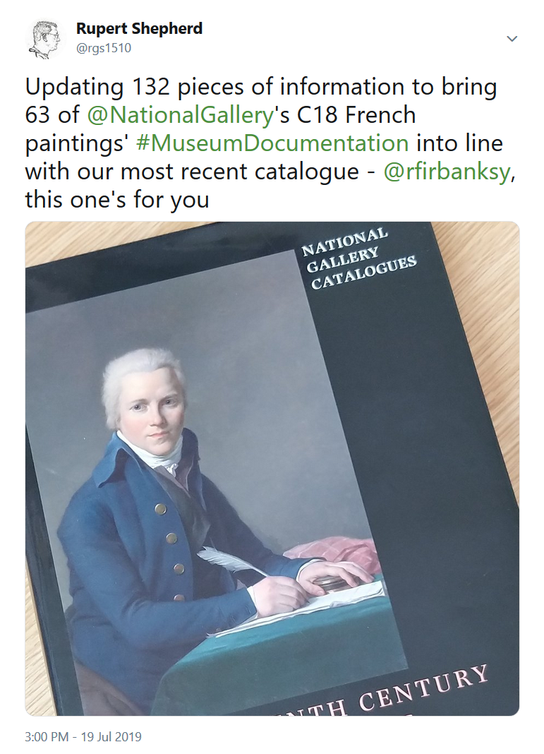 Tweet from @rgs1510 about uploading catalogue infromation to bring the National Gallery's documentation into line with its most recent catalogue