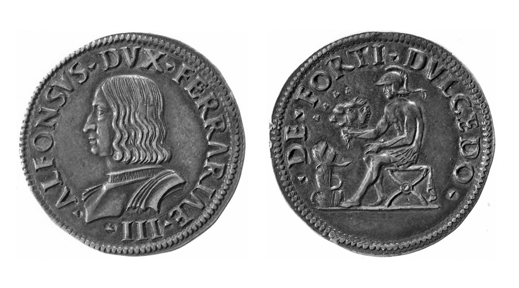 Silver quarto / testone of Alfonso I d'Este, CNI 21