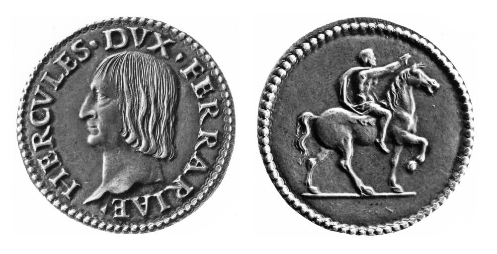 Silver quarto / Testone of Ercole I d'Este, CNI 24